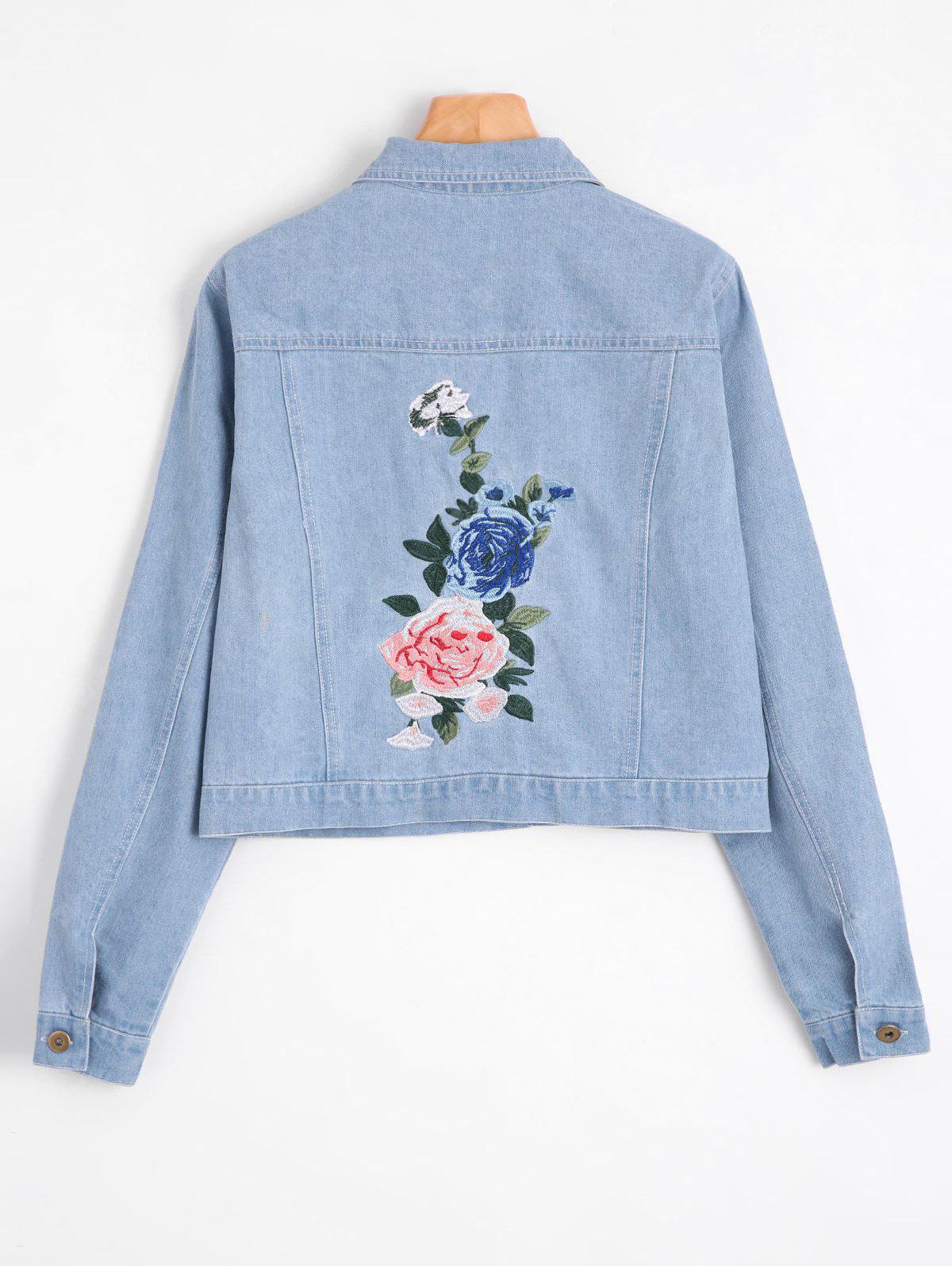 Floral Patched Buttoned Denim Jacket