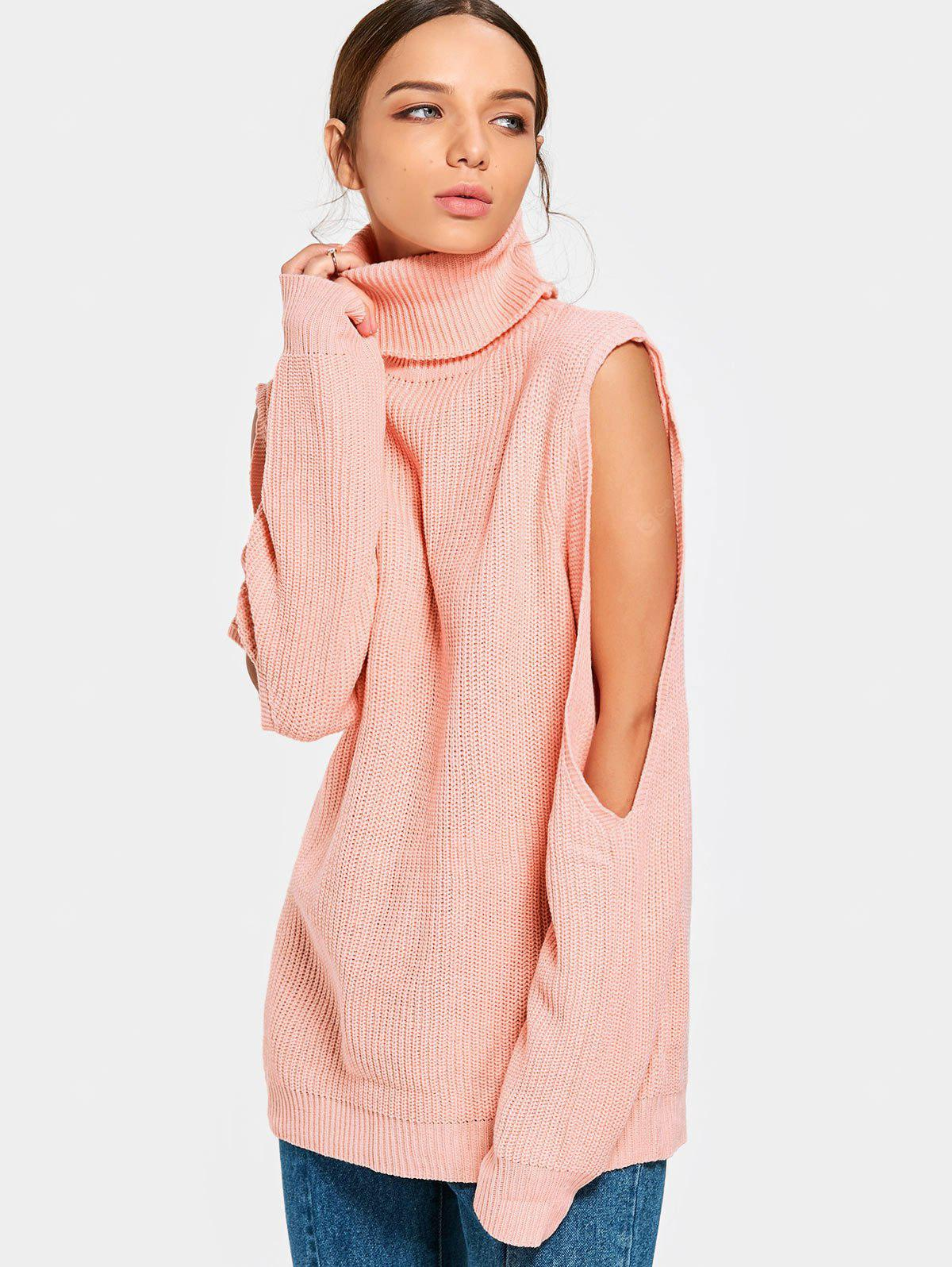 Plain Cut Out Sleeve Sweater