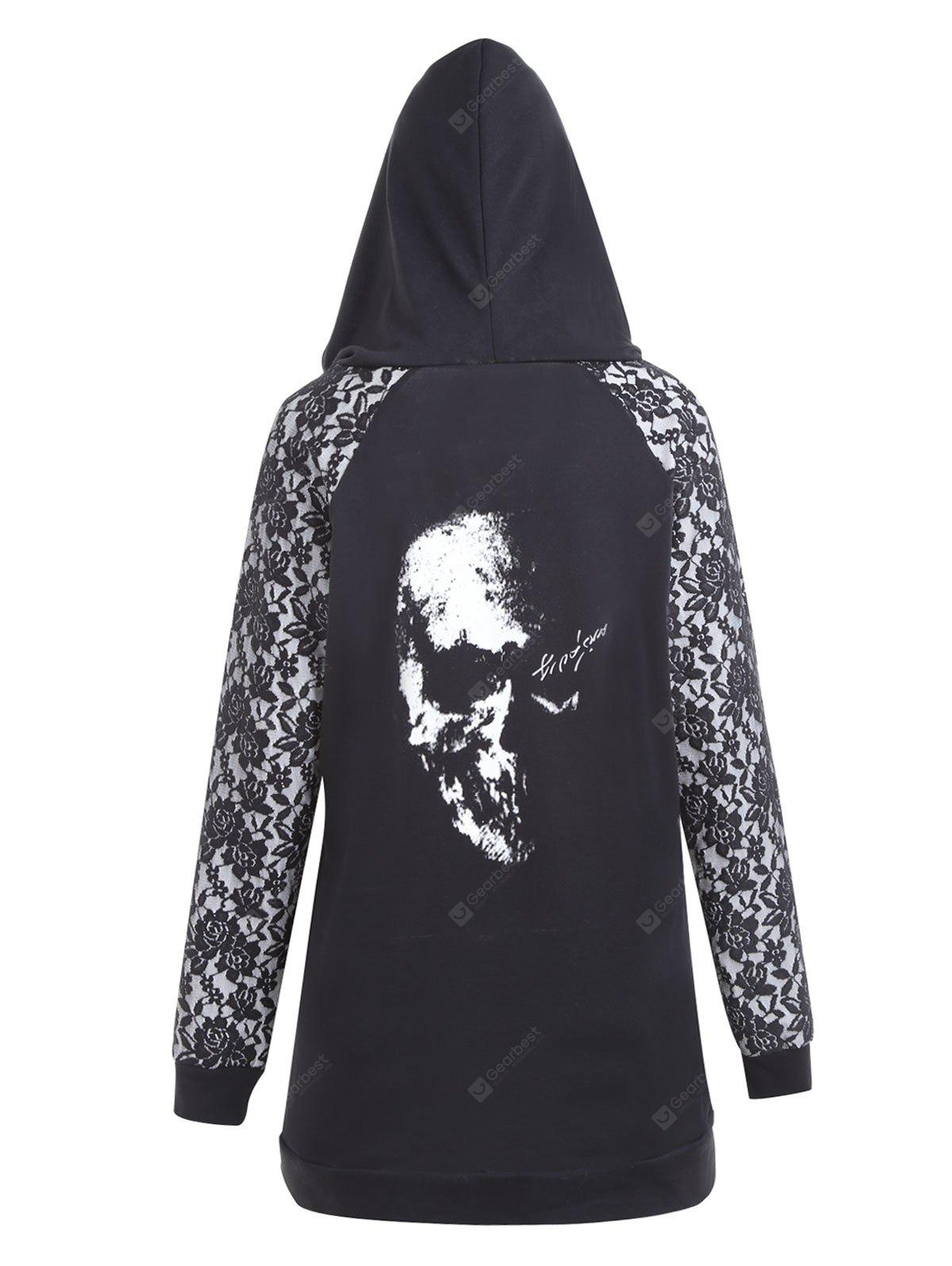 Halloween Skull Plus Size Lace Up Hoodie