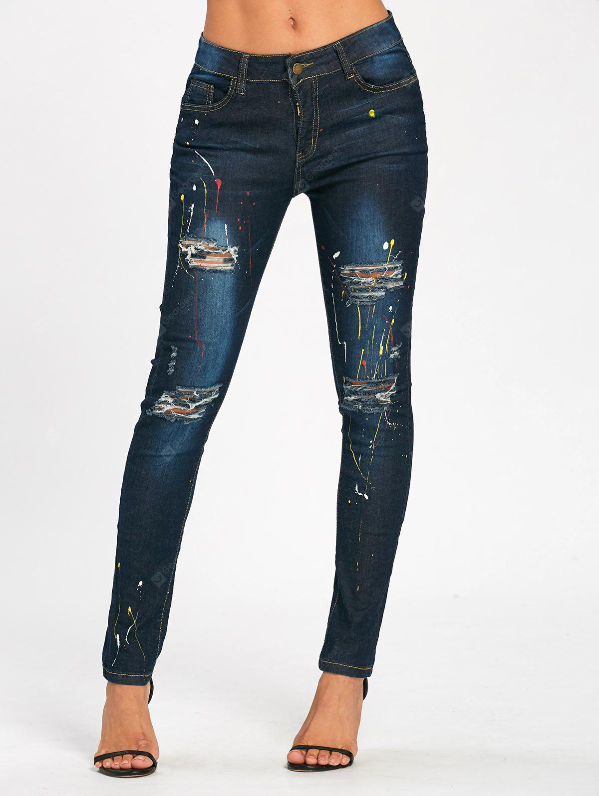 BLUE 2XL Splash Ink Printed Pencil Ripped Jeans