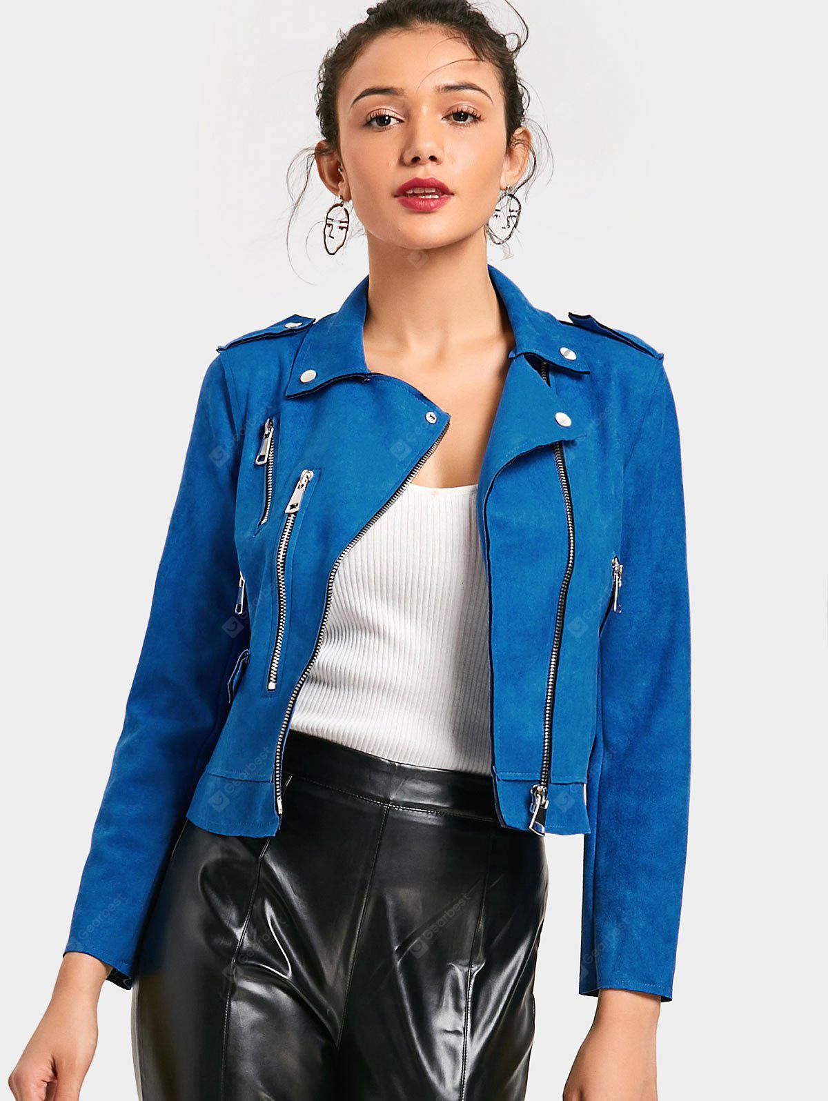 Zip Up Faux Suede Cropped Motorcycle Jacket
