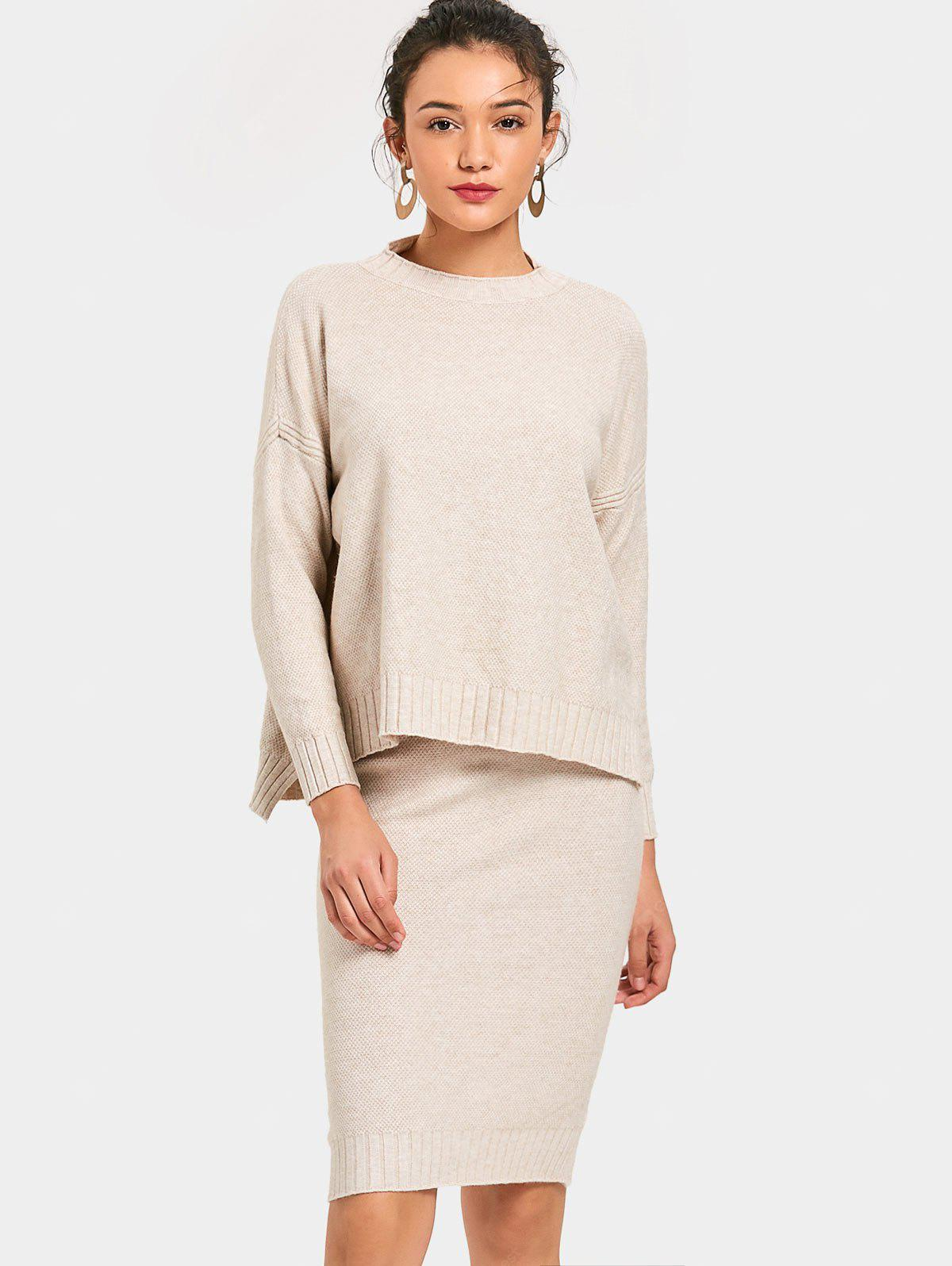 Side Slit Pullover Sweater and Pencil Knitted Skirt