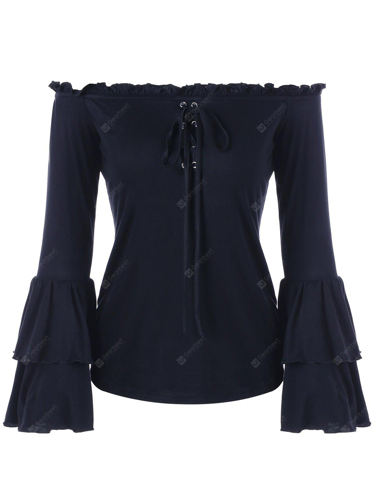 Lace-up Ruffle Off Shoulder Flare Sleeve Blouse