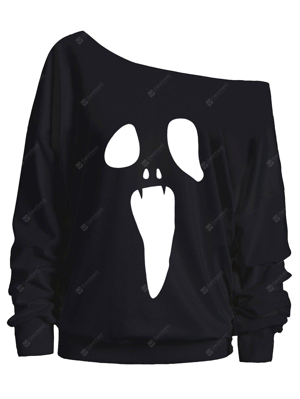 Halloween Ghost Skew Neck Sweatshirt