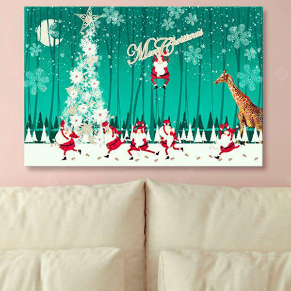 Christmas Tree Print Wall Art Santa Claus Canvas Painting