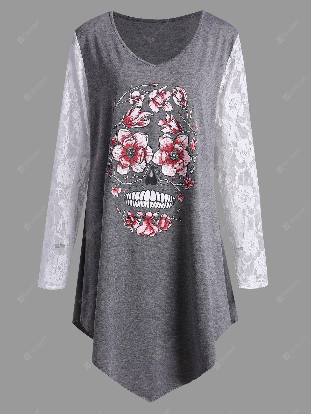 Plus Size Lace Panel Halloween Floral Skull T-shirt