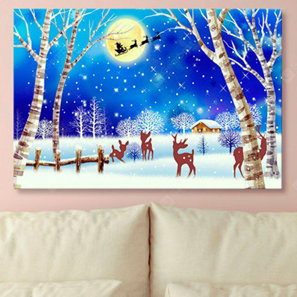 Christmas Snowscape Print Wall Art Canvas Painting