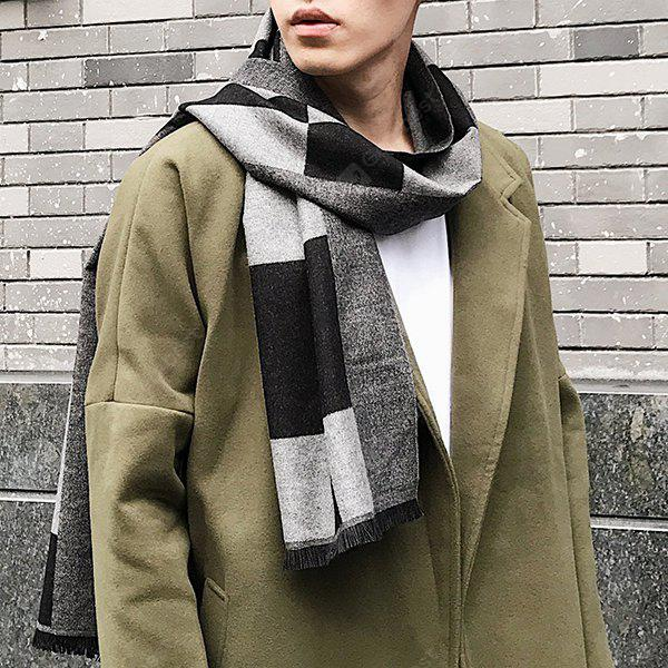 Outdoor Soft Checked Pattern Fringed Scarf