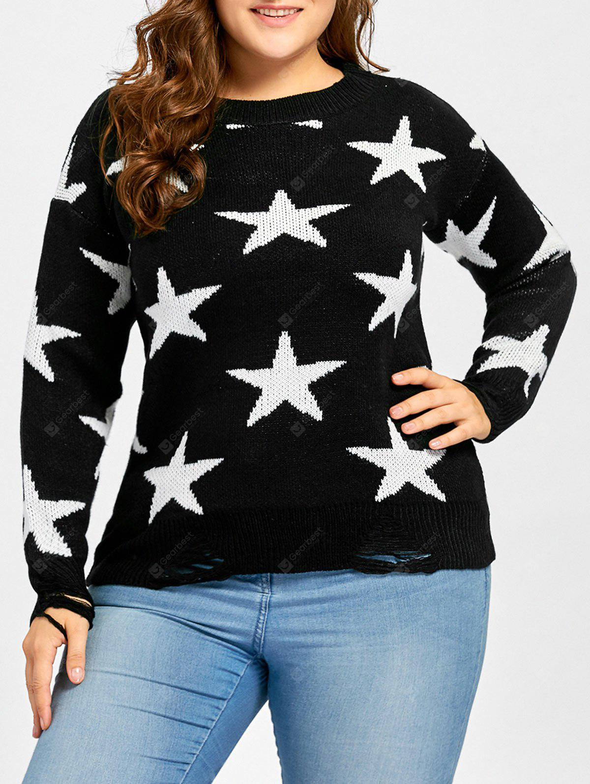 Star Jacquard Destroyed Plus Size Sweater
