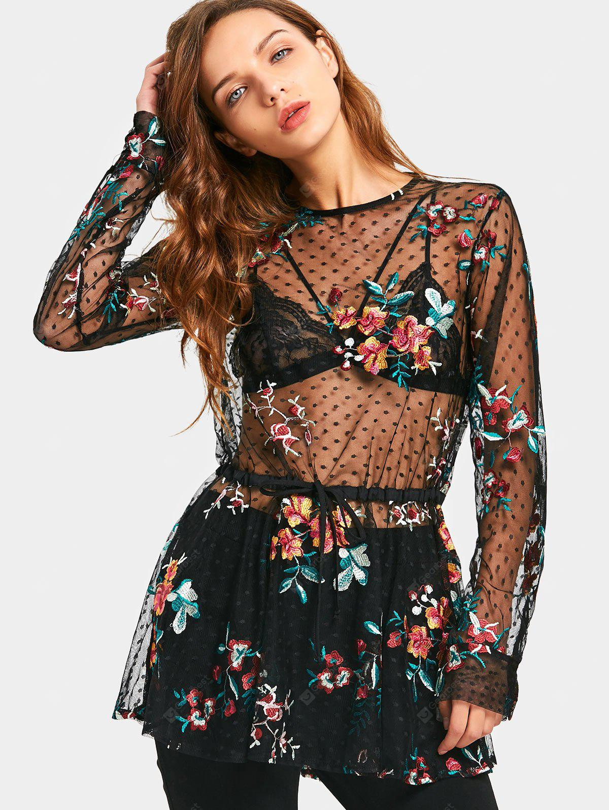 BLACK S See Thru Floral Embroidered Ruffles Blouse