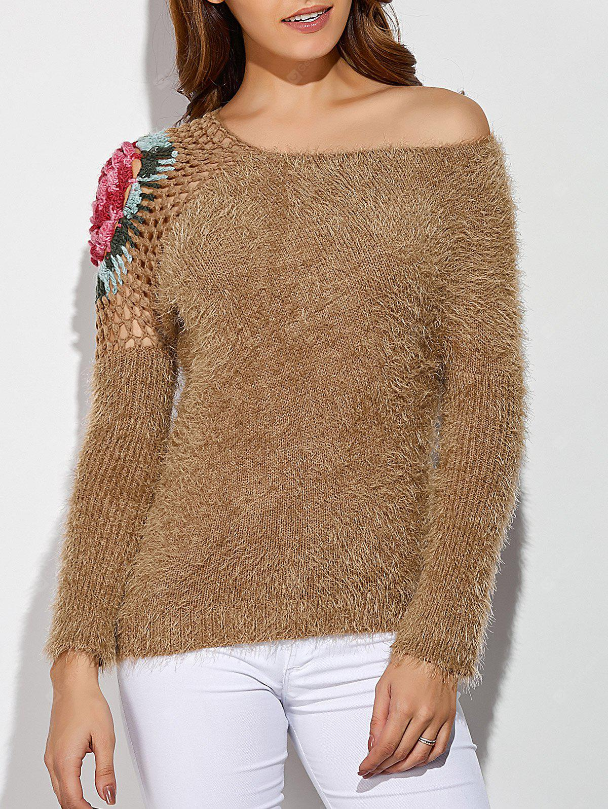 Skew Neck Embroidered Hollow Out Fuzzy Sweater