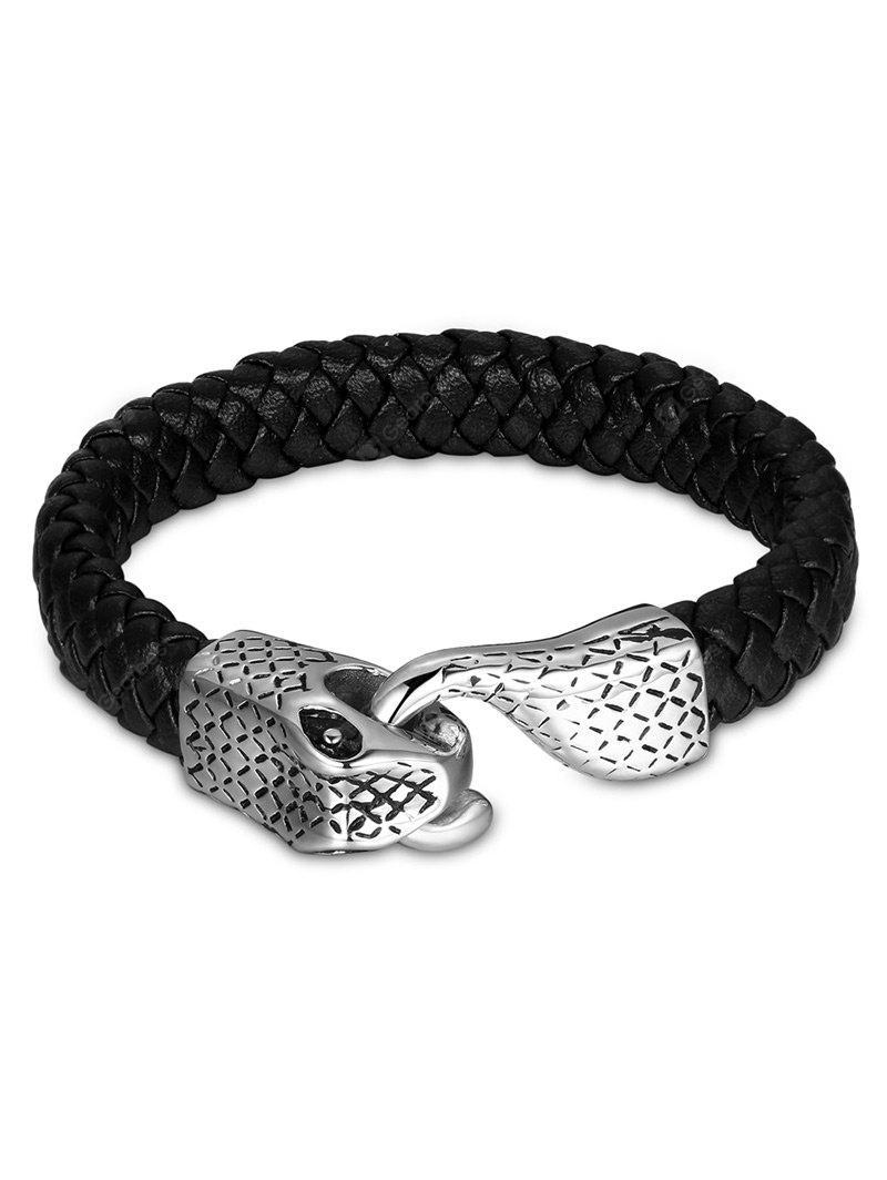 Vintage Faux Leather Braid Snake Bracelet