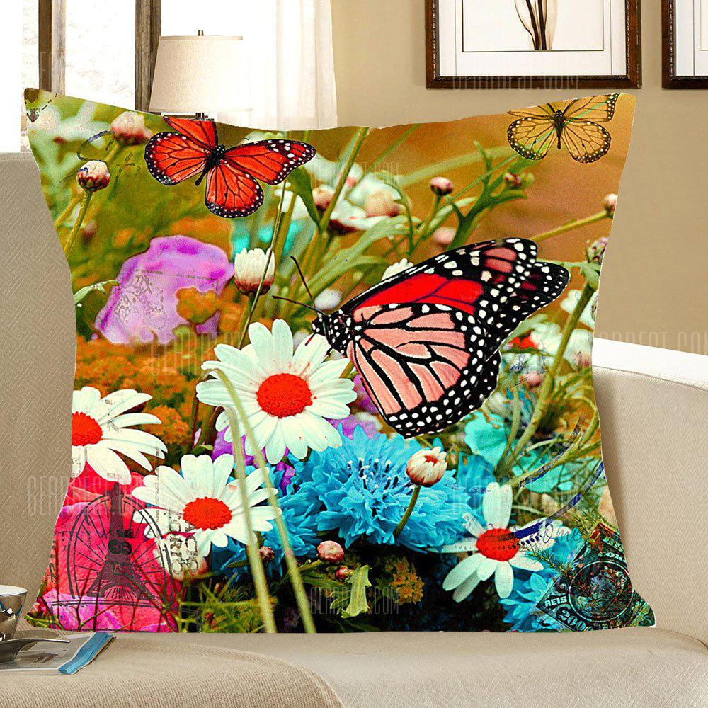 Flowers and Butterfly Pattern Decorative Pillow Case