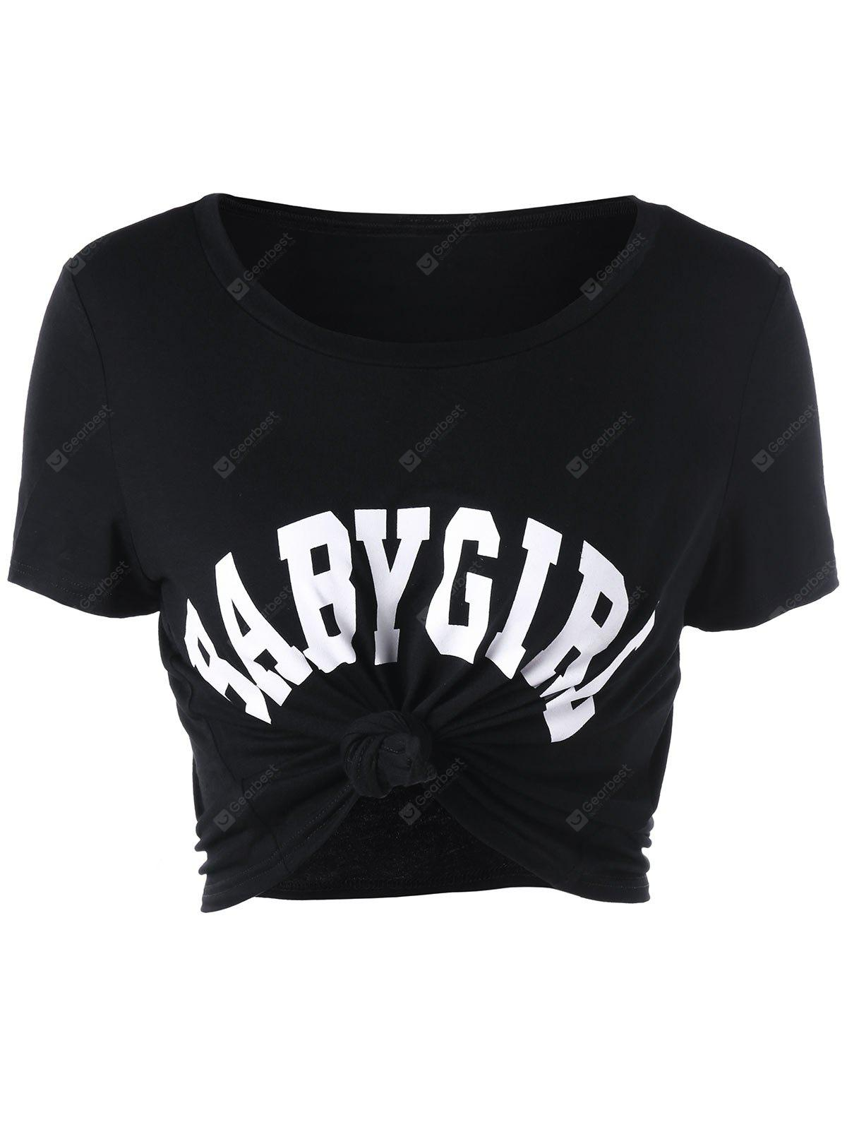 BLACK S Baby Girl Cropped T-shirt
