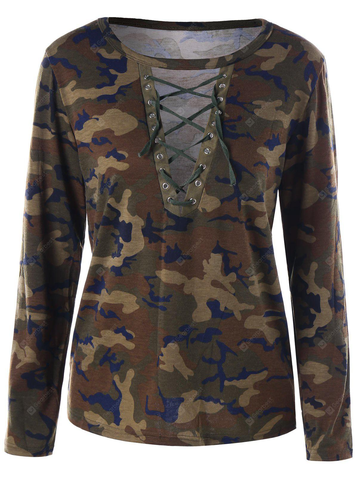 T-shirt in pizzo camouflage