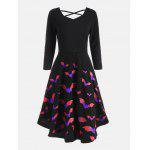 Cross Back Bat Print Fit and Flare Dress - BLUE AND PINK