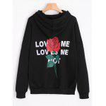 Side Slit Floral Letter Pattern Hoodie - BLACK