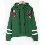 Floral Appliques Drawstring Hoodie - GREEN