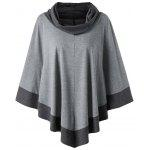 Plus Size Cowl Neck Poncho Top - SMOKY GRAY