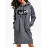 Drawstring Letter Print Slit Mini Hoodie Dress - DEEP GRAY