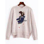 Cartoon Patched High Low Heathered Sweater - APRICOT