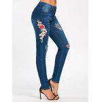 Embroidered Pencil Ripped Jeans - BLUE