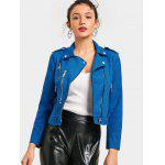 Zip Up Faux Suede Cropped Motorcycle Jacket - BLUE