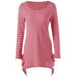 Striped Drop Pockets Tunika Top - ROTER STREIFEN