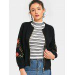Zip Up Floral Embroidered Cardigan - BLACK