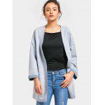 Open Front Faux Suede Long Coat - LIGHT BLUE