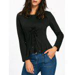 Pleated Bottom Long Sleeve Lace Up T-shirt - BLACK