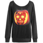 Plus Size Halloween Skull Pumpkin Print T-shirt - BLACK