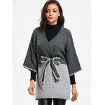 Two Tone Belted Long Cardigan - GRAY