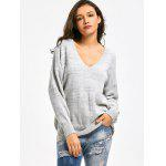 V Neck Drop Shoulder Oversized Sweater - GRAY