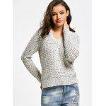 V Neck Sheer Pullover Sweater - LIGHT GRAY