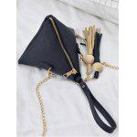 Stereo Triangle Geometric Tassel Tote Bag - BLACK