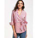Bowknot Stripes Button Up Shirt - LISTRAS