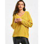 V Neck Oversized Pullover Sweater - YELLOW
