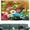 Pittura floreale e farfalle multifunzione Stick-on Wall Art Painting - COLORATO