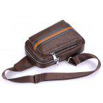 Color Block PU Leather Chest Bag - BROWN