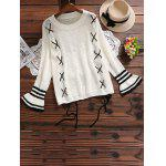 Lace Up Crew Neck Bell Sleeve Sweater - OFF-WHITE