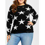 Star Jacquard Destroyed Plus Size Sweater - BLACK