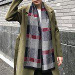Soft Plaid Check Pattern Fringed Scarf - GRAY