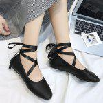 Criss Cross Lace Up Ankle Strap Flat Shoes - BLACK
