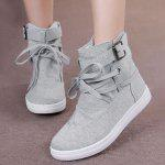 Buckle Strap Short Canvas Boots - GRAY
