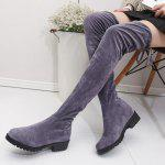 Buy Low Heel Over-the-Knee Tall Boots 36 GRAY
