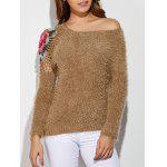 Skew Neck Embroidered Hollow Out Fuzzy Sweater - LIGHT BROWN