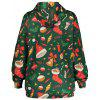 Christmas Candy Socks Print Hoodie with Pocket - GREEN
