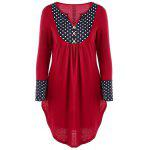 Polka Dot Trim Tunic Top - RED