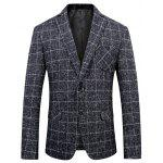 Single Breasted Chest Pocket Check Tweed Blazer - DEEP BLUE